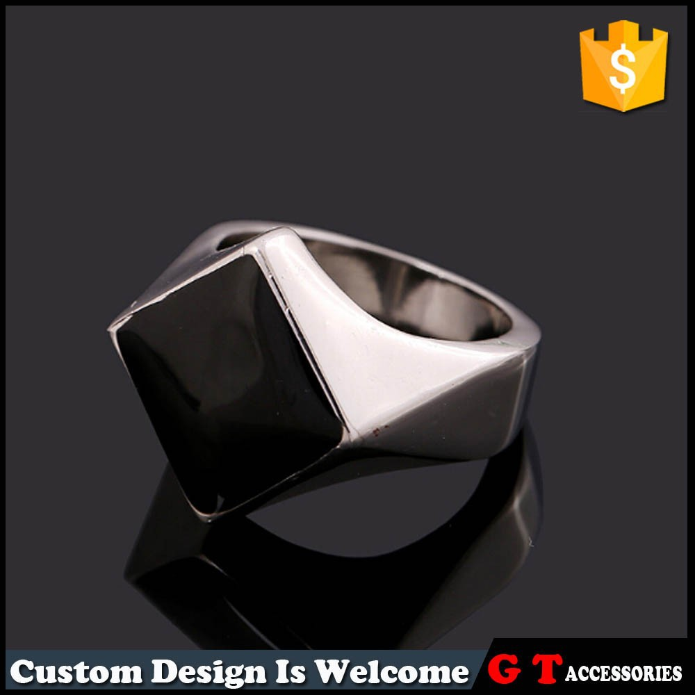 New Style Personalized Black Square Ring, Women Men Ring Model, Jewelry Ring Model