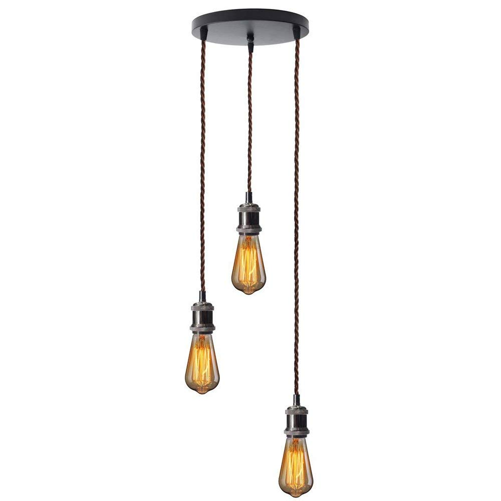 Frideko Vintage Village 3-Rope Wire Hanging Edison Loft Ceiling Pendant Light for Home Office Apartment Restaurant Dinning Room Café (Type B, Black)