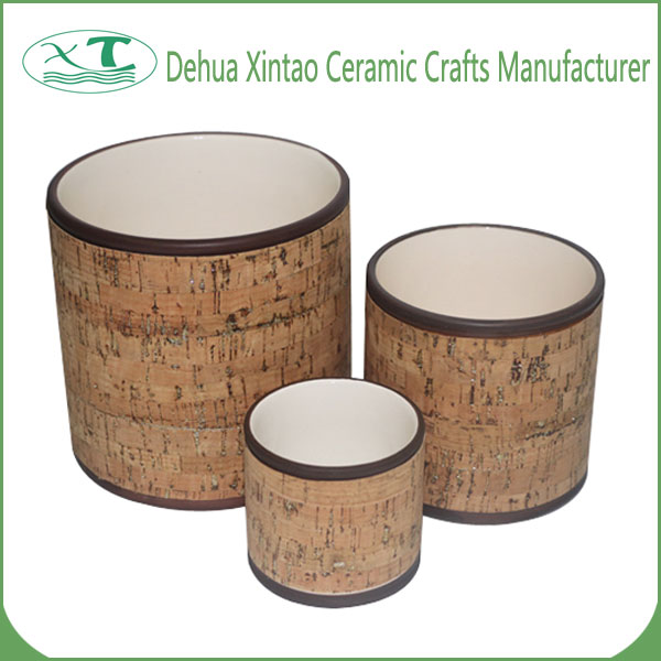 Home Garden Bamboo Weaving Pattern Three-piece Ceramic Plant Pots with Gold Powder
