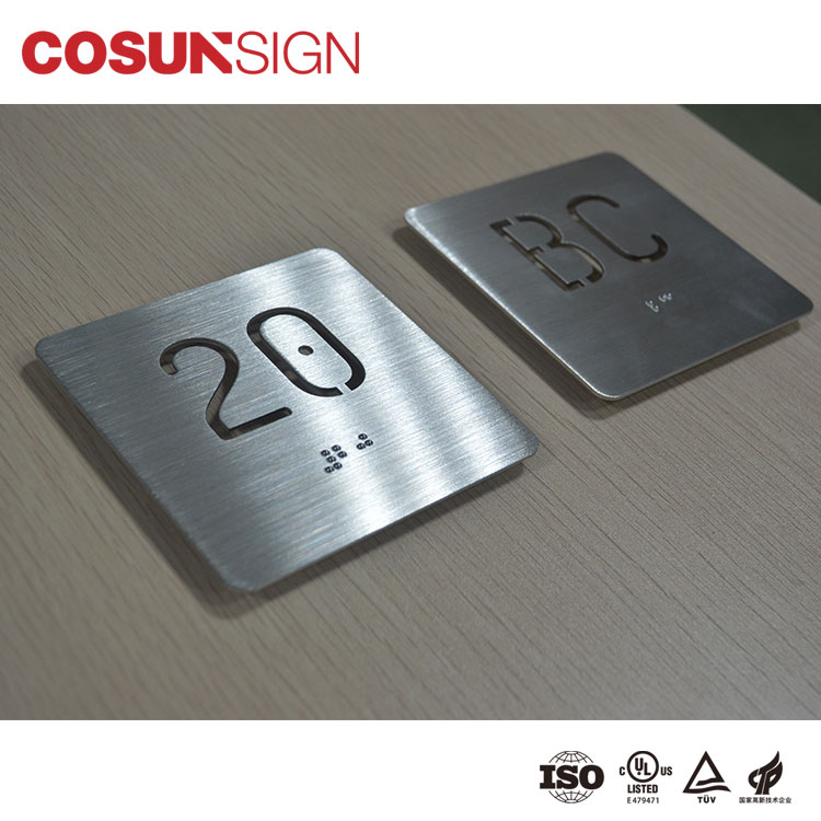 Custom designed acrylic hotel room door sign ada acrylic braille room number
