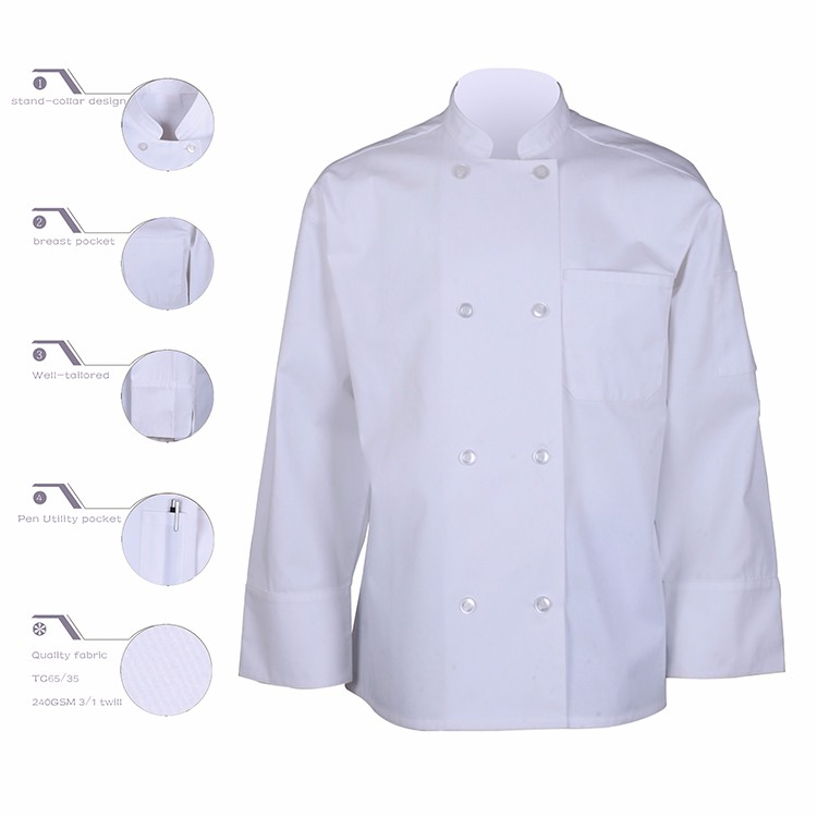 Mannen chef uniform, wit chef jas, custom chef jas