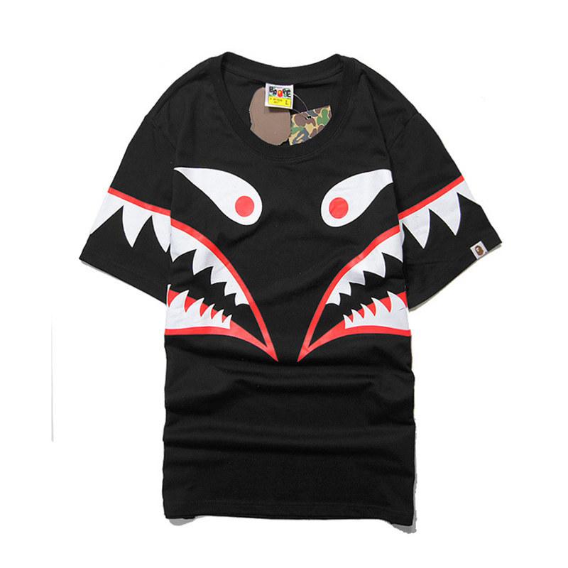 b7fde54805bb5 Buy Summer Mens Bape Aape T-Shirts Shark Head Shark Tooth Printing ...