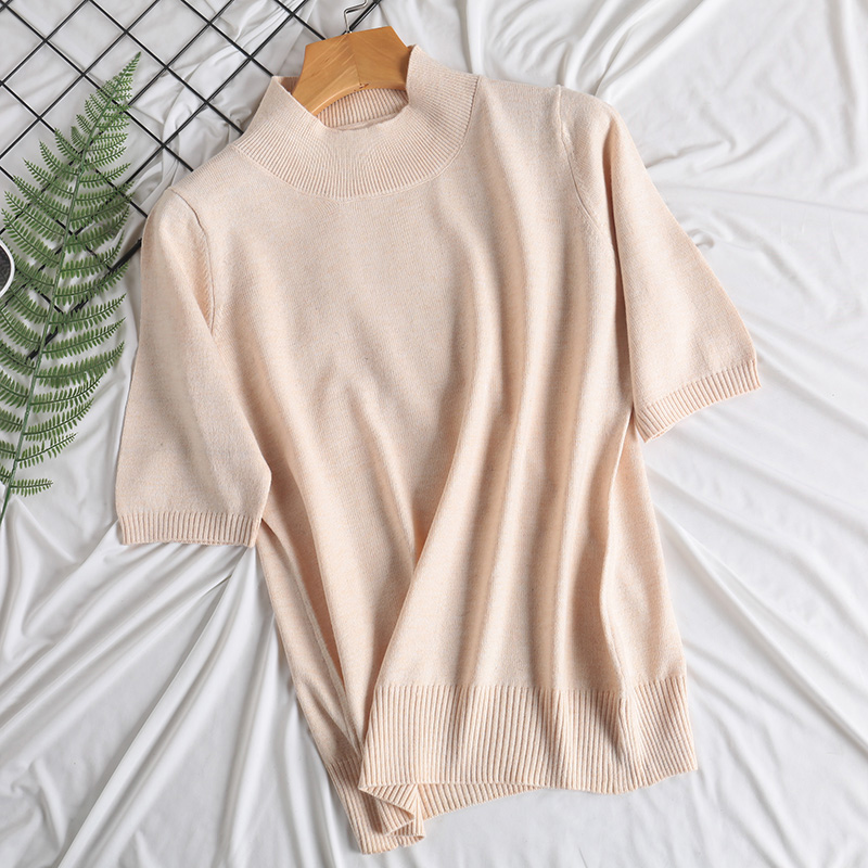 Women's pullover sheep cashmere Knit half sleeve sweater