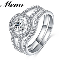 Meno Rhodium plated group setting 4-prong round-shaped diamond luxury couple finger Ring