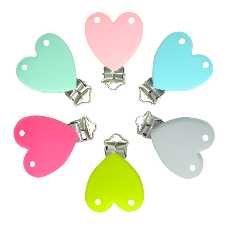 heart silicone teether holder clip with hole