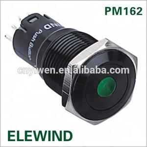 16mm Black metal push button switch, dot illuminated switch,momentary push button switch( PM162F-11D/G/12V/A,CE,ROHS)