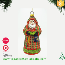 High quality hand blown glass classical santa with net ornament from direct chinese factory