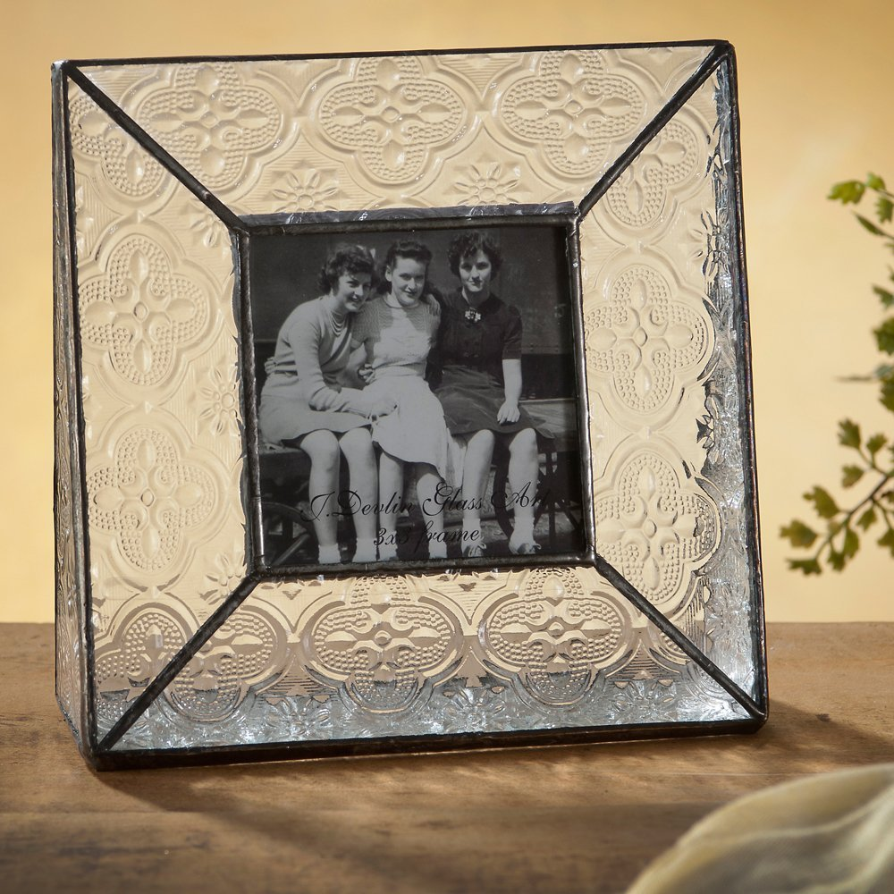 J Devlin Pic 126-33 Stained Glass Picture Frame 3x3 Table Top Photo Frame Keepsake Gift Vintage Home Decor Desktop