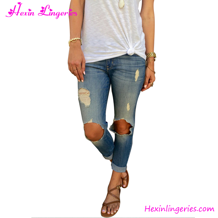 Factory Price Manufacturers China Blue Denim Ripped ...