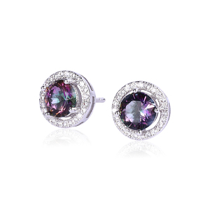 H291 Cheap Wholesale round crystal stone earrings women's fashion jewelry