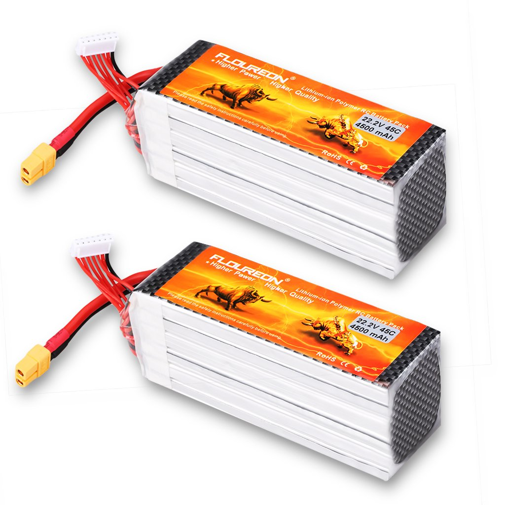 Floureon 2Packs 6S 22.2V 4500mAh 45C Lipo Battery 5.27*1.68*2.15 inch for RC Quadcopter Airplane Helicopter Car Truck Boat Hobby (XT60 Plug)