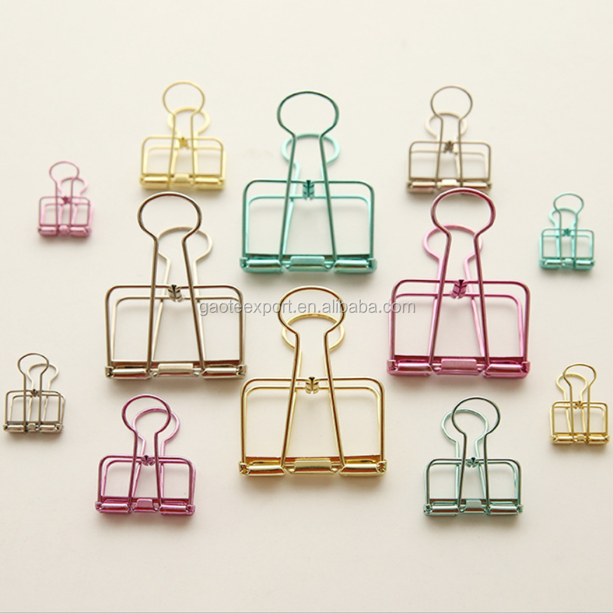 Novelty Solid Color Hollow Out Metal Binder Clips Notes Letter Paper Clip