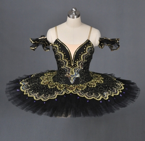 Professional Customized Girls Ballet Dance Performance Wear Costumes Classical Black Swan Tutu