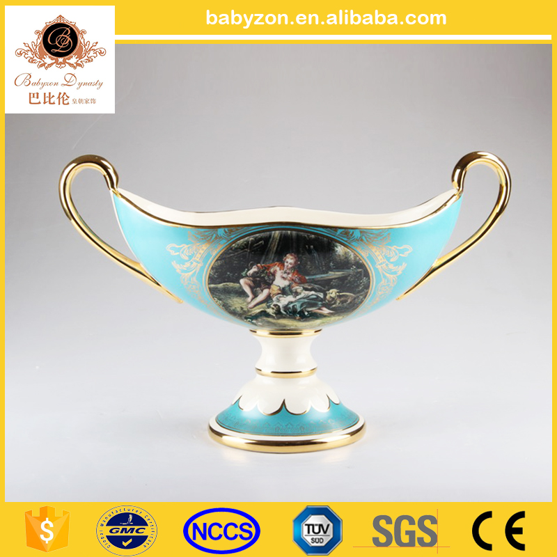 "OEM design charming antique luxury tiffany blue 17""ceramic porcelain art vase with gold for wedding decorations"