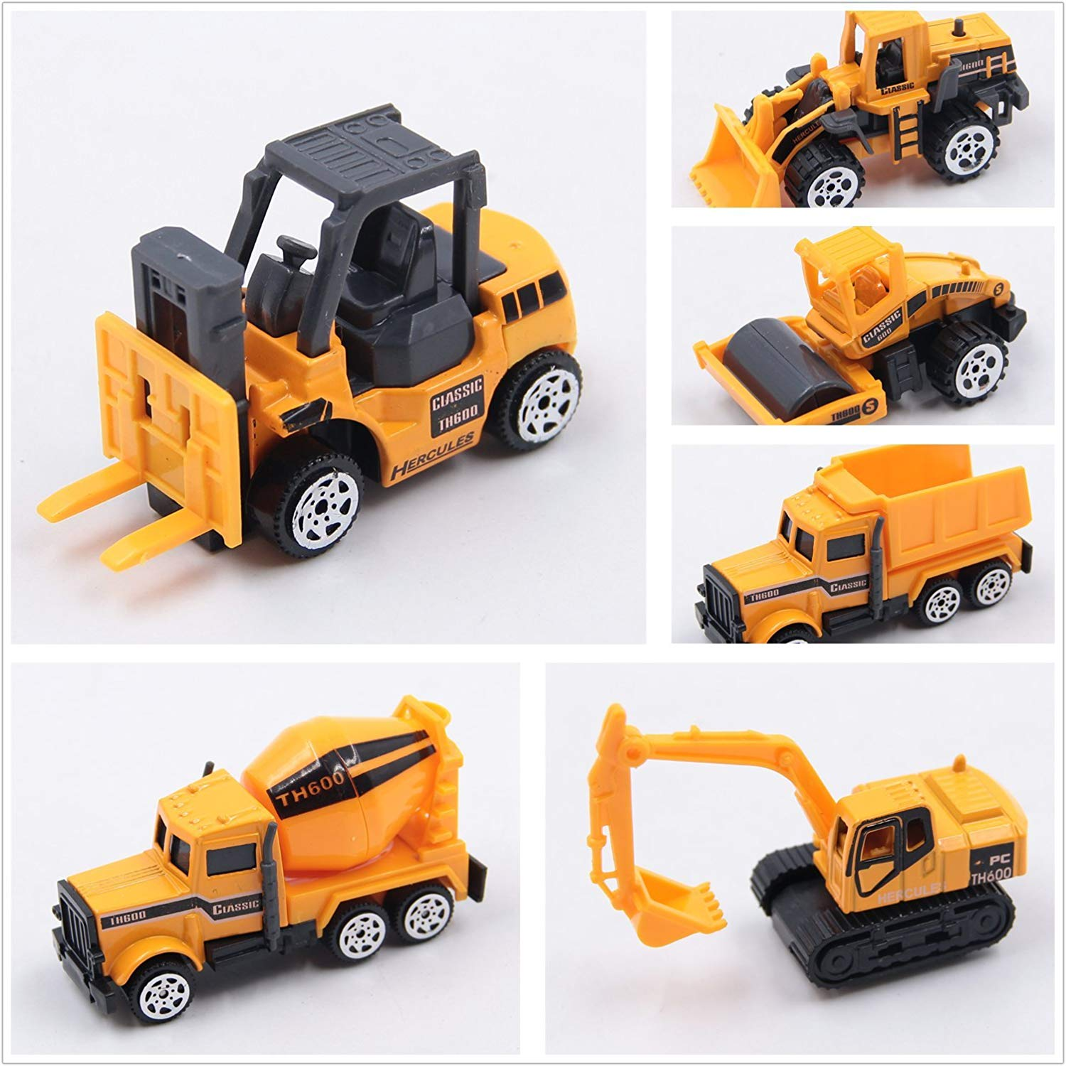 AT-Mizhi 1:64 Complete Construction Crew 5 Pieces Mini Toy Diecast Vehicle Play Gift Set, Comes with Variety of Vehicles and Figures for Kids Boys Toys Free Wheeling Die Cast Metal Diecast Toy Cars