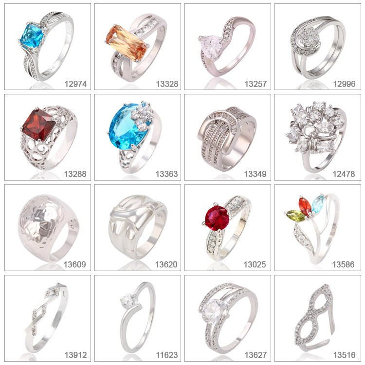 14504 Xuping eight heart eight arrows luxury zircon ring 925 china jewelry silver color