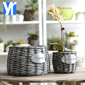 YRMT hot selling small round grey handmade wicker flower pot with low price