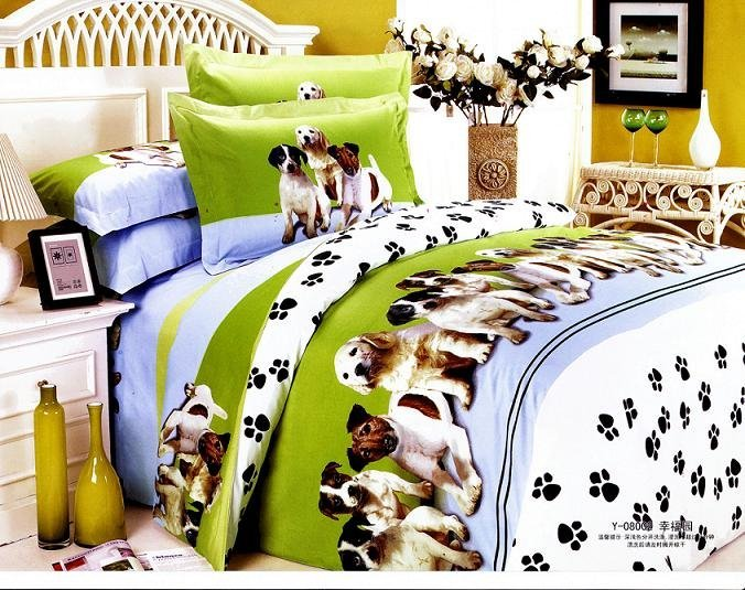 Dog Pet Design Queen Bed Quilt Comforter Duvet Cover Sets 4pc   Buy Bedding  Set Product On Alibaba.com
