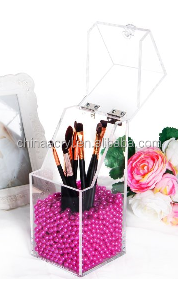 Wholesale Clear Acrylic Makeup Organizer divisoria acrylic makeup with Glossy Rosy Pearl - Small