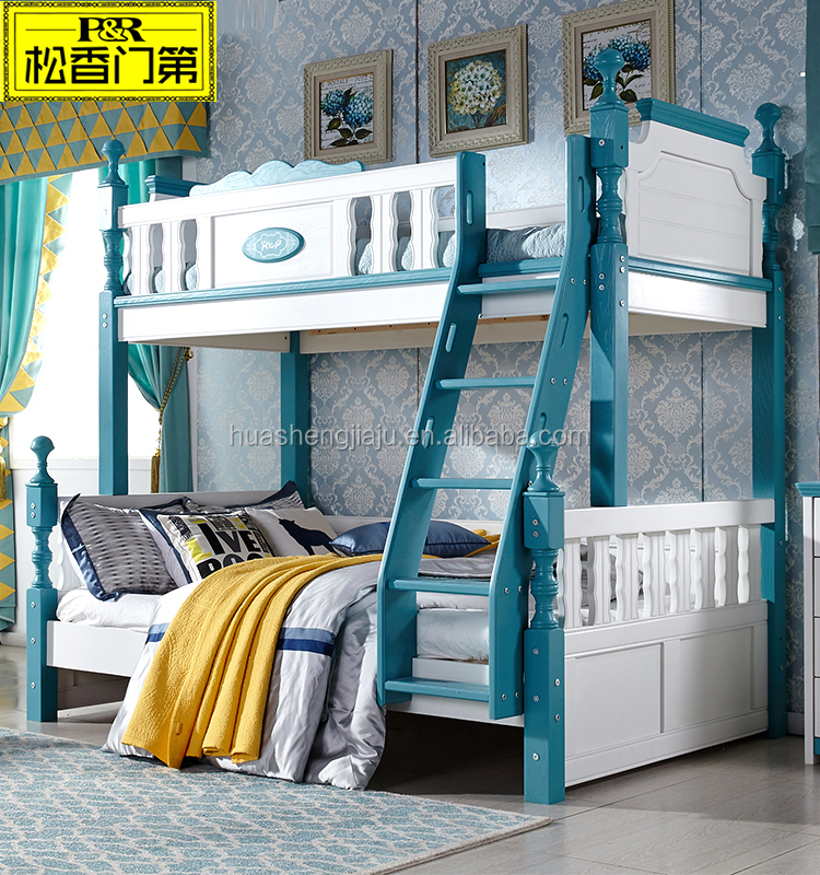 Kids wooden bunk bed furniture bedroom