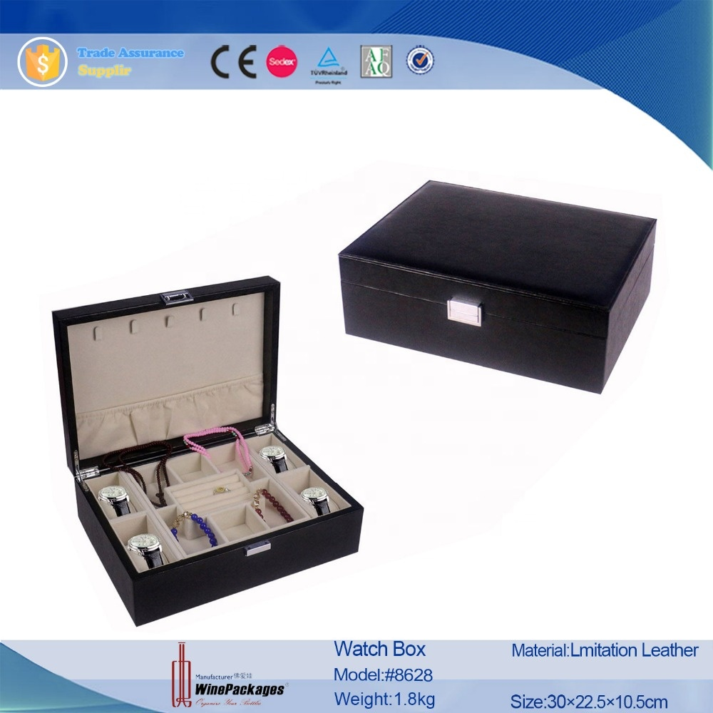 Luxury custom made leather  velvet watch jewelry box, treasure wood necklace box with hook