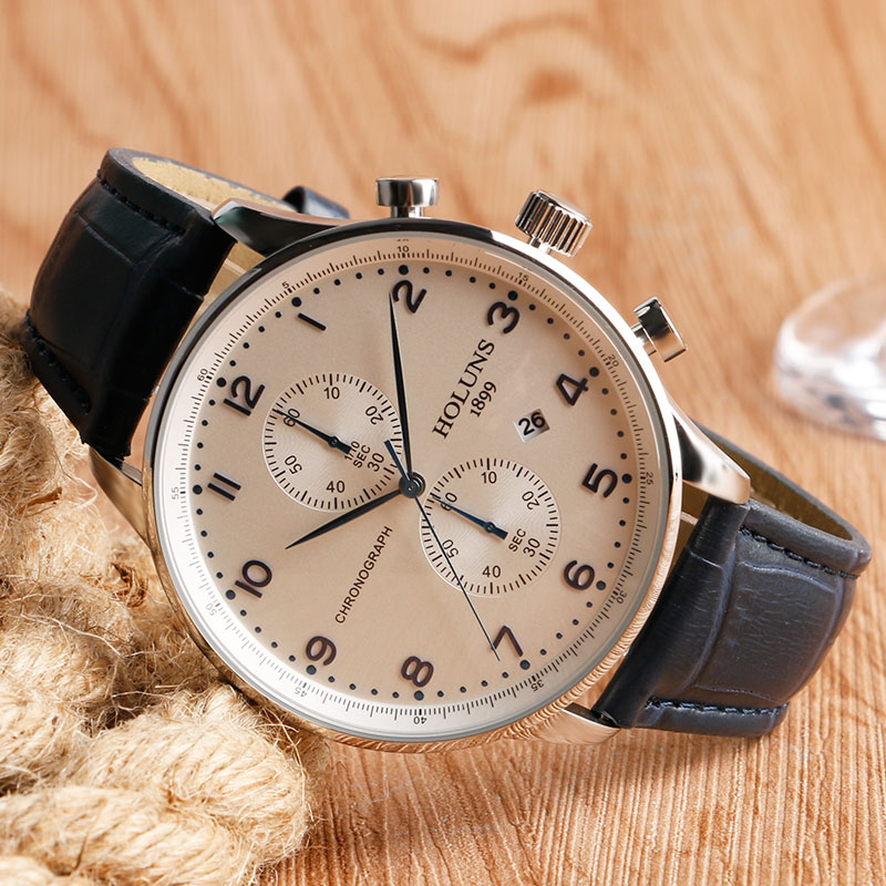 HOLUNS Original Mens Watches Luxury Brand Chronograph Men's Business Casual Leather Dress Calender Hour Clock Relogio Masculino 2017 2018 Best Gifts for Dad HIM (10)