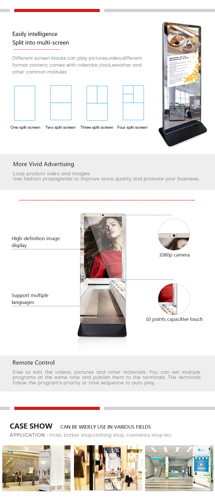 Touch Screen Floor Standing  Led Magic Mirror Advertising