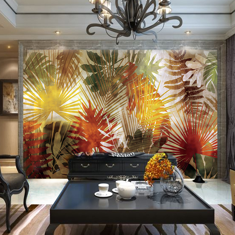 Customized home decor mural living room wallpaper television background  southeast Asian tropical plant rain forest