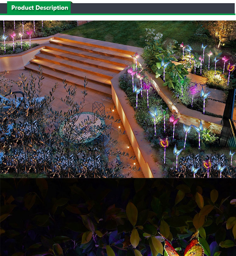 Solar Lights Outdoor Garden,Solar Stake Light Multi-color Changing LED Garden Lights, Fiber Optic Butterfly Decorative Lights