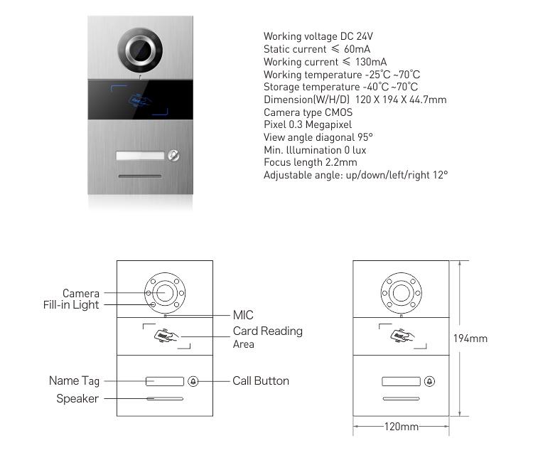 Stable Video Door Intercom System 7 Inch Color Screen Video Door Phone TCP IP Digital Video Intercom System