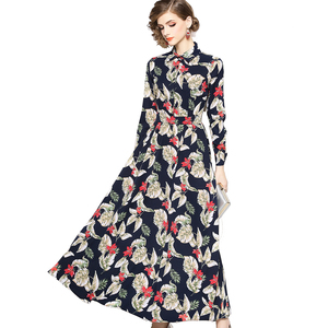 a75f777555a5 Wholesale in Stock S to XXL Autumn Women Fashion Long Sleeve Turn Down  Collar Floral Print