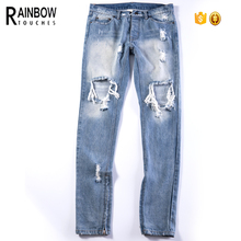 Lage MOQ Custom Mens Verontruste Denim <span class=keywords><strong>Jeans</strong></span> <span class=keywords><strong>Broek</strong></span>