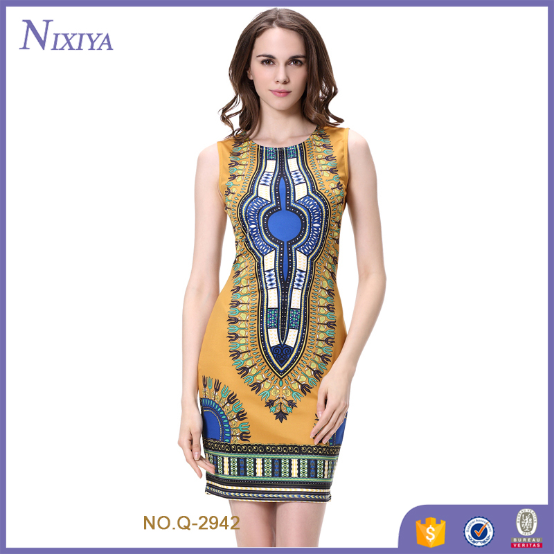 African Print Slim Mini Dress Wholesale Vintage Clothing