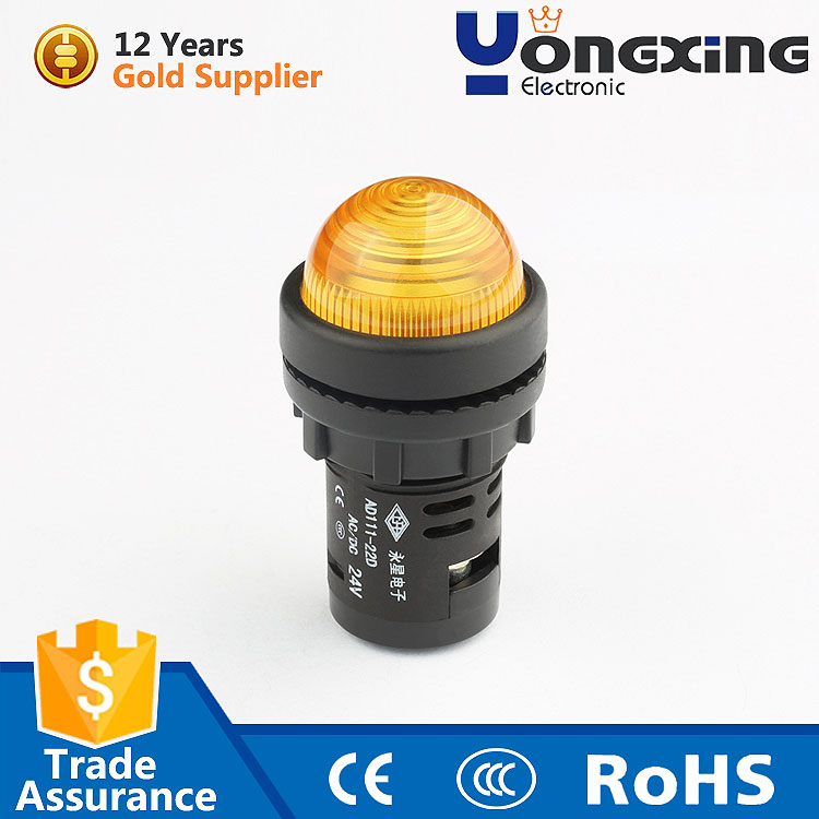 good quality 22mm 24V led yellow round indicator light signal lamp
