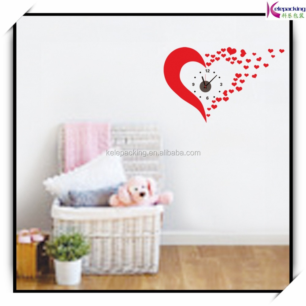 hot selling red heart 2015 new modern diy wall clock 3d sticker hot selling red heart 2015 new modern diy wall clock 3d sticker design home office room