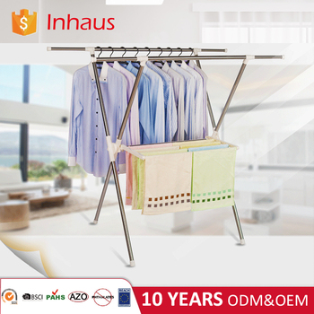 heavy duty commercial portable drying clothes x shape garment rack for japan market