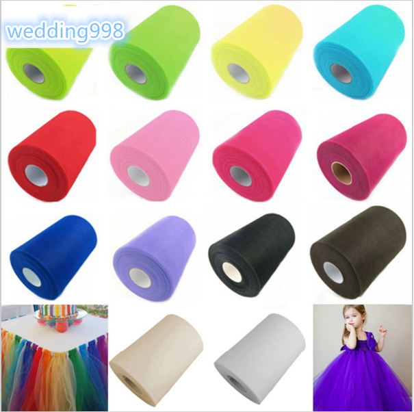 100 yard 15 cm DIY Wedding Decoration Tulle Roll Spool Tutu Apparel Knit <strong>Fabric</strong> For Sewing Party Birthday Event Supplies