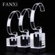FANXI Custom Exquisite Organic Glass Jewelry Bangle Watch Display Holder Stand Set Black Prop Exhibitor Clear Acrylic Display