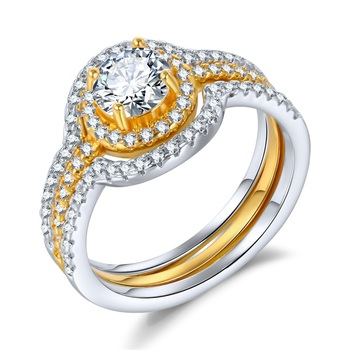 Exquisite two color ring wedding ring white diamond engagement wedding ring set