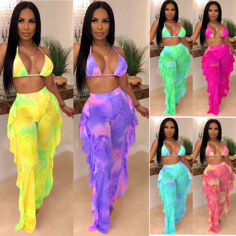 FM-OY5117 Mature Women's digital print mesh three-piece set swimsuit sexy swimwear 2019