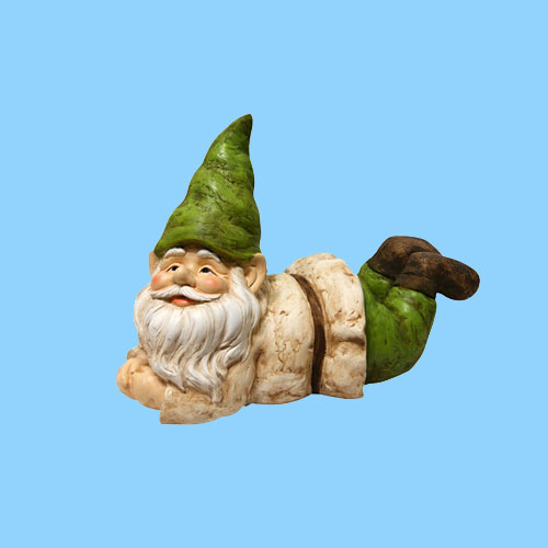 Outdoor Decoration Lying Down Statue Garden Gnome Figurine