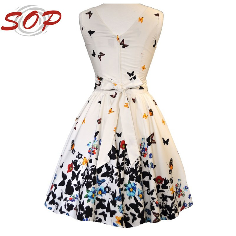 Online Shopping Tea Collection For Classic Beautiful White Butterfly Print Lady Dress