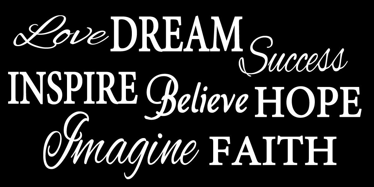 """Word Collage - Love, Dream, Success, Inspire, Believe, Hope, Imagine, Faith- Living Room Entry Way Viny Wall Decal (FA129) (40"""" Wide X 22"""" High / 101 cm Wide x 56 cm High, White)"""