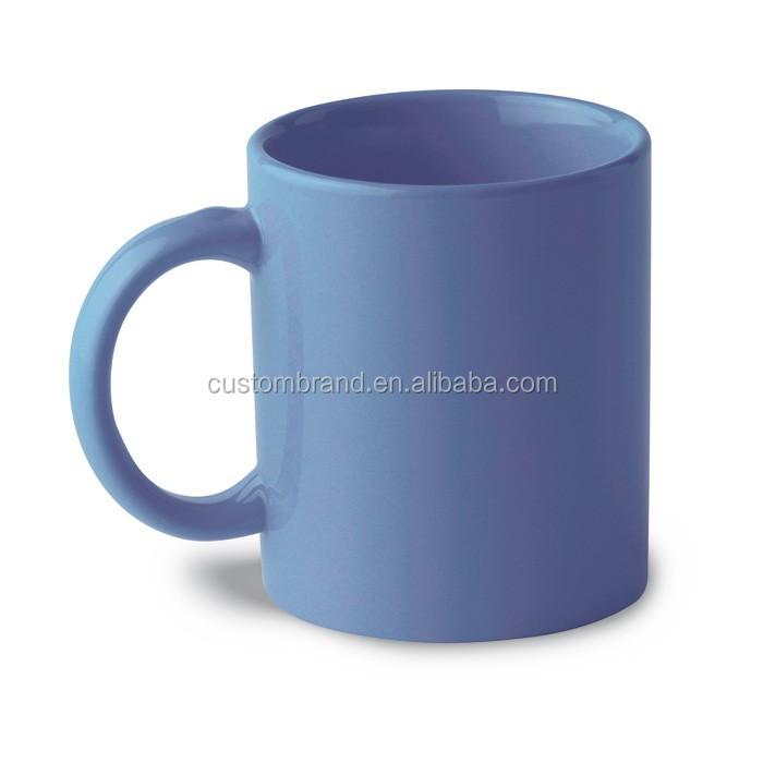 Small order custom printed blue ceramic mug