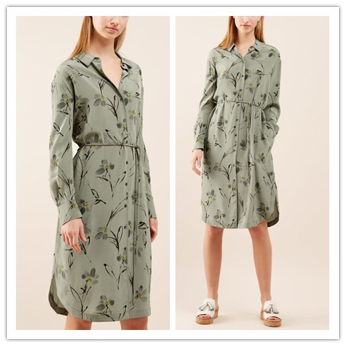 Fashion Trends Printed Casual Dresses Long Sleeve Silk Shirt Dress