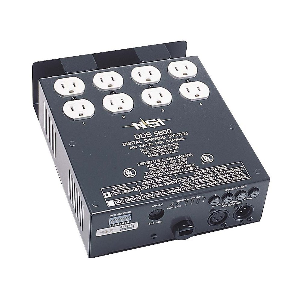 Leviton N5600 4-Channel 600 Watt/Channel 15-Amp Power Supply Cord Dimmer/Relay System, Micro-Plex And 0-10V, 120V