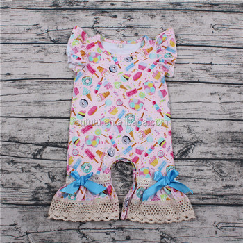 Sue Lucky pearl flutter sleeve wholesale newborn baby clothes bow cute flower wholesale used baby clothes baby romper