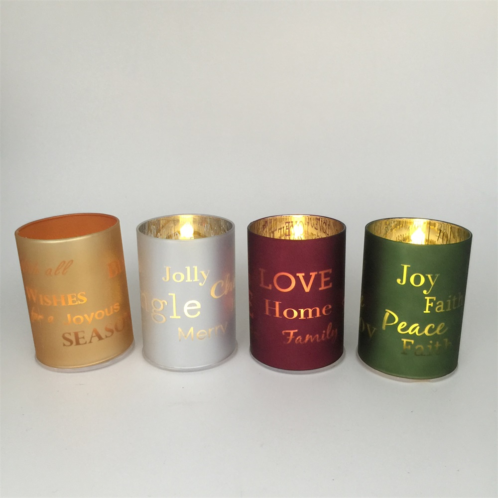 Sprayed gold gold rim glass candle holders Free Samples available