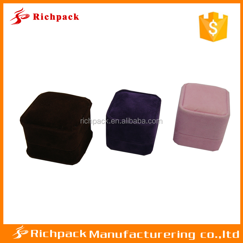 Manufactory wholesale custom colorful small velvet plastic box for ring