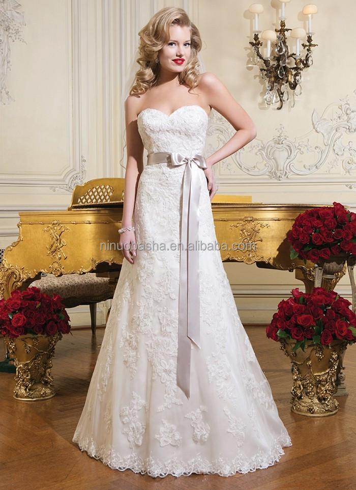 Top Qualität 2015 Spitze Überlagert A-Line Wedding Dress Strapless ...
